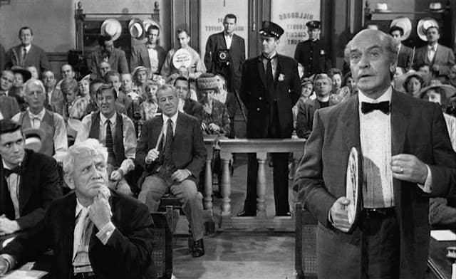 """""""Drummond"""" and """"Brady"""" in court. The film script bears little resemblance to the trial transcript."""