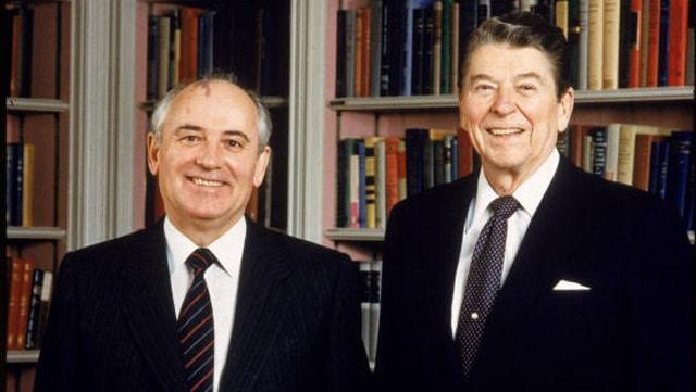 Portrait Of Ronald Reagan & Mikhail Gorbachev