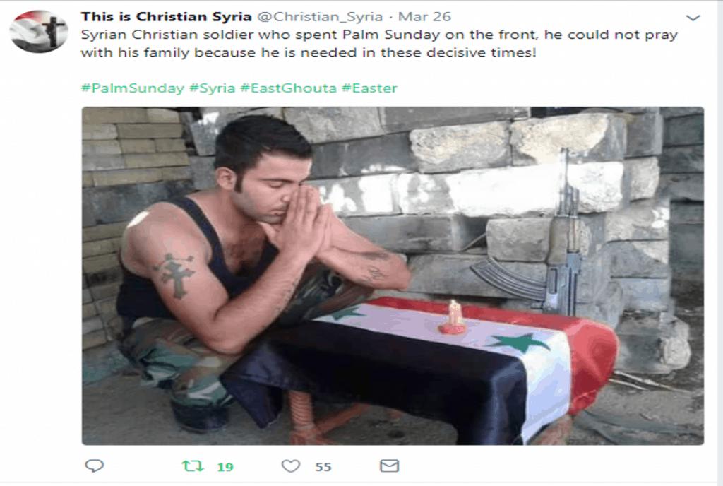 Syrian Christian soldier praying